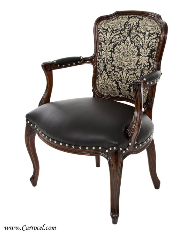 of louis xv antique leather living room accent arm chairs at 1stdibs
