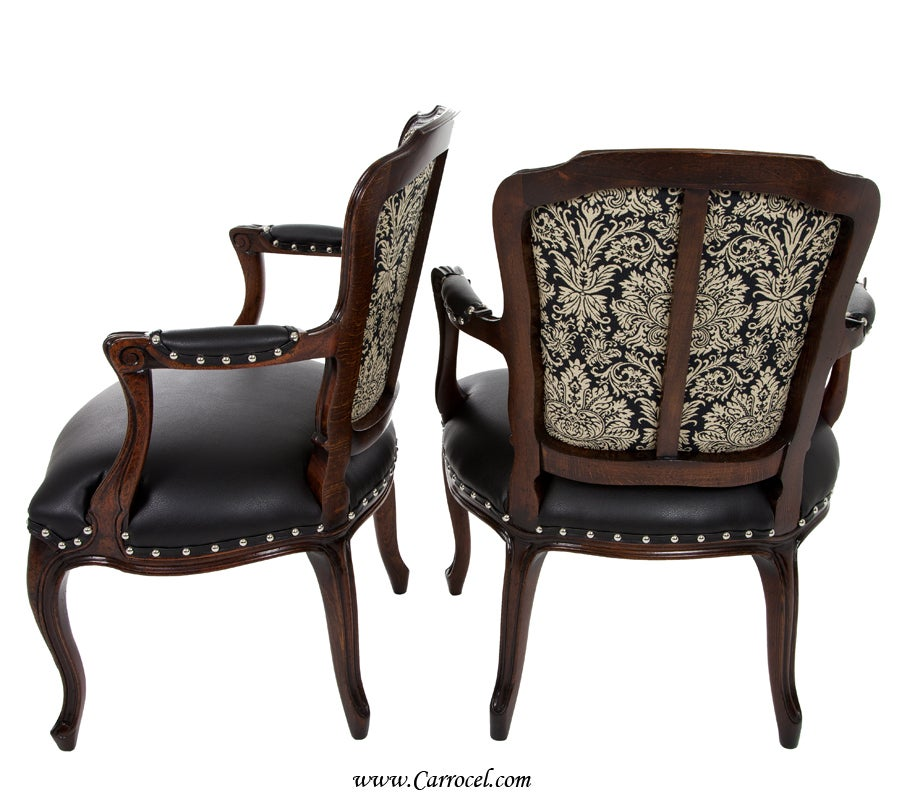 Pair Of Louis Xv Antique Leather Living Room Accent Arm Chairs At 1stdibs