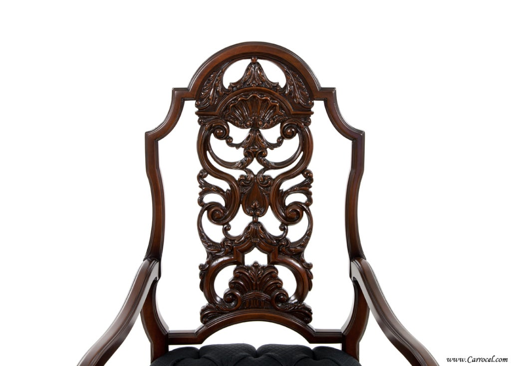 20th Century Antique Set of 7 Chippendale Rococo Dining Chairs by Batesville For Sale