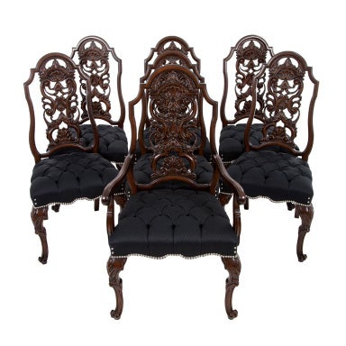 Antique Set of 7 Chippendale Rococo Dining Chairs by Batesville