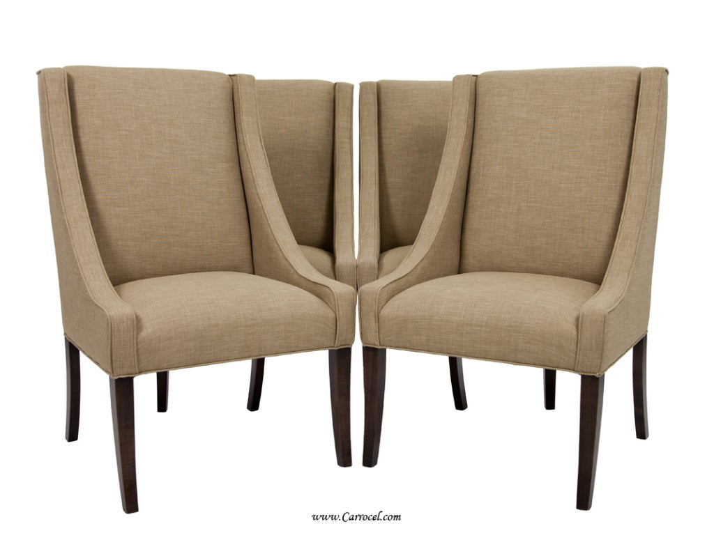 Set of 4 italian upholstered parsons living room dining for Seating furniture living room