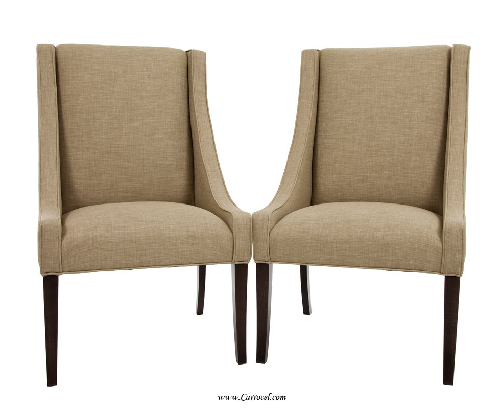 Set of 4 italian upholstered parsons living room dining for Drawing room chairs