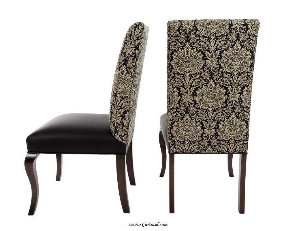Pair of parsons leather accent chairs with upholstered for Best quality upholstered furniture
