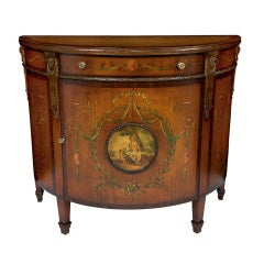 Antique American Hand-Painted Adam Style Demi Lune Commode