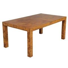 Milo Baughman Burled Walnut Dining Table