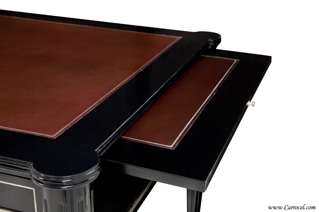 Black lacquer leather top writing office ralph lauren desk for Ralph lauren office furniture