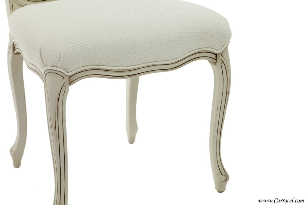 distressed cream dining chairs custom orders for sale at 1stdibs