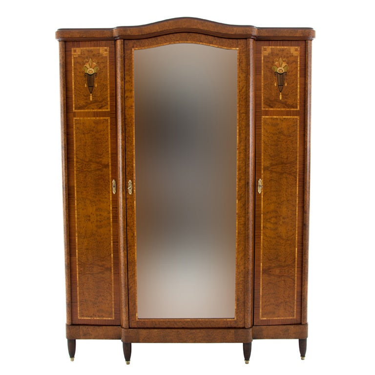 antique french burled walnut armoire wardrobe made in. Black Bedroom Furniture Sets. Home Design Ideas