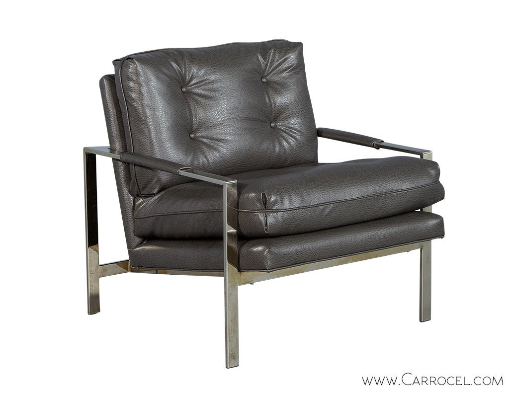 Pair of Midcentury Chrome and Faux Ostrich Lounge Chairs at 1stdibs