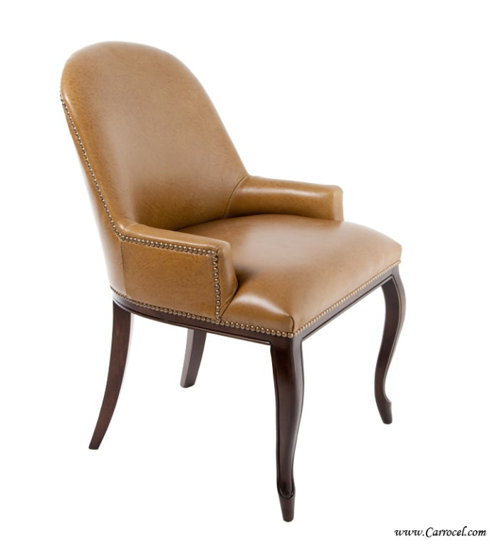 custom accent dining chair with italian leather at 1stdibs. Black Bedroom Furniture Sets. Home Design Ideas