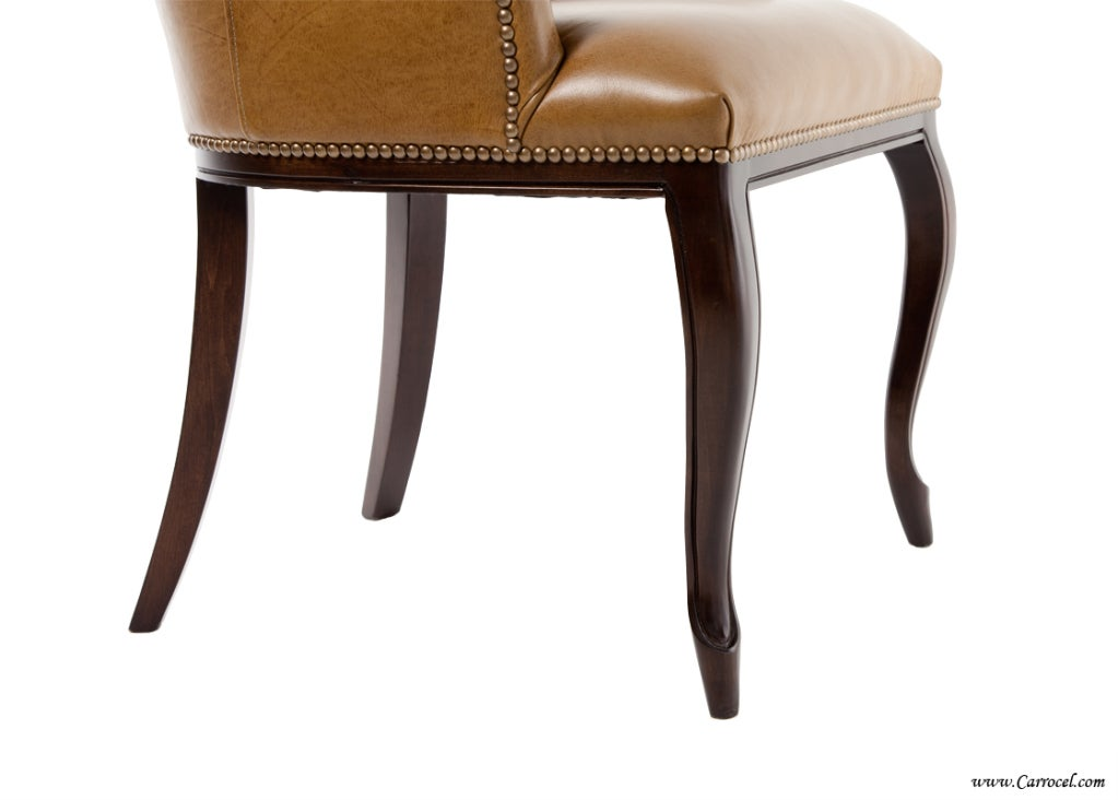 Custom Accent Dining Chair With Italian Leather For Sale
