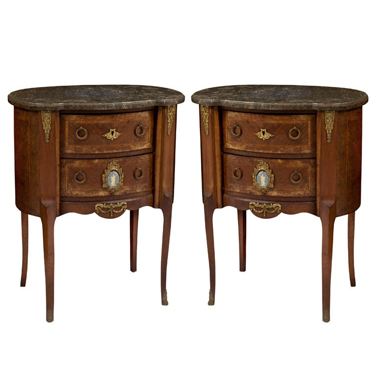 Pair Of Antique Louis Xv Marble Top End Tables With Brass