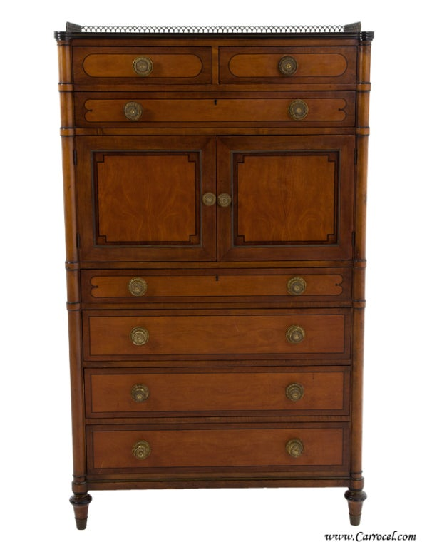 Antique kittinger mahogany bedroom chest highboy dresser at 1stdibs Antique bedroom dressers and chests