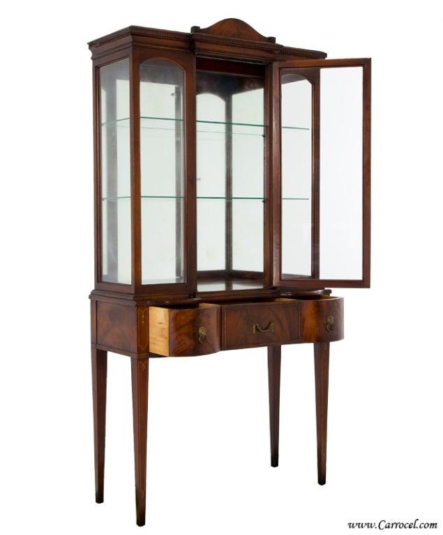 Antique Mahogany Federal Hepplewhite Curio Display China Cabinet At 1stdibs