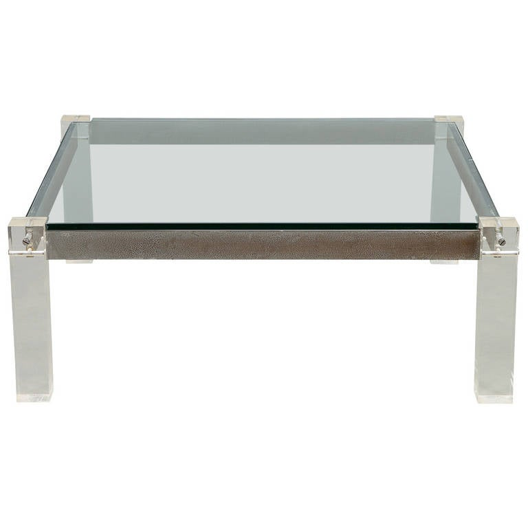 Mid 20th Century Lucite And Chrome Square Coffee Table At 1stdibs
