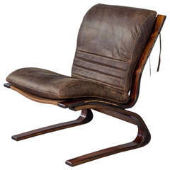 Rosewood and Leather Cantilever Lounge Chair