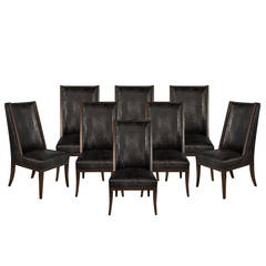 Set of Eight Custom D'barto High Back Dining Chairs