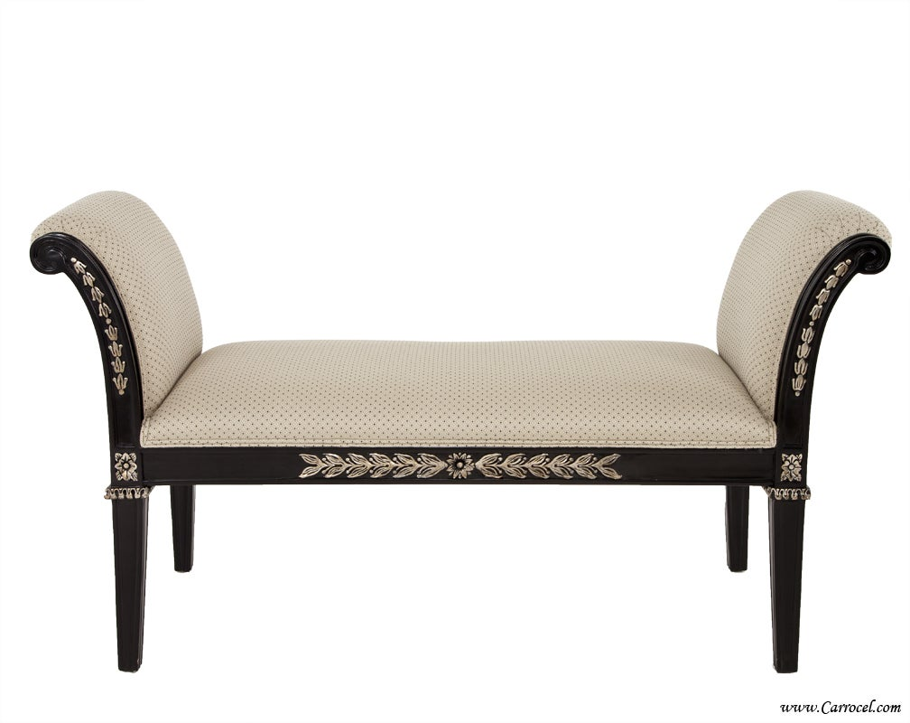 Upholstered Foyer Bench : Black upholstered hallway foyer bedroom bench with silver