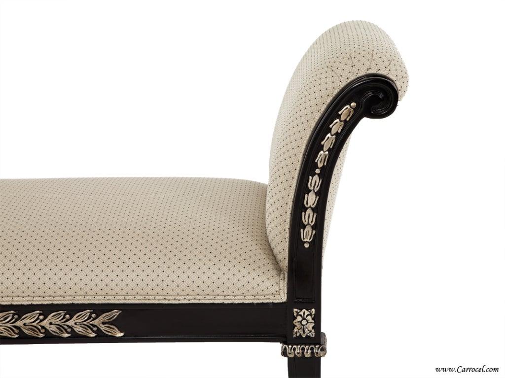 Upholstered Foyer Bench : Black upholstered hallway foyer bedroom bench with silver