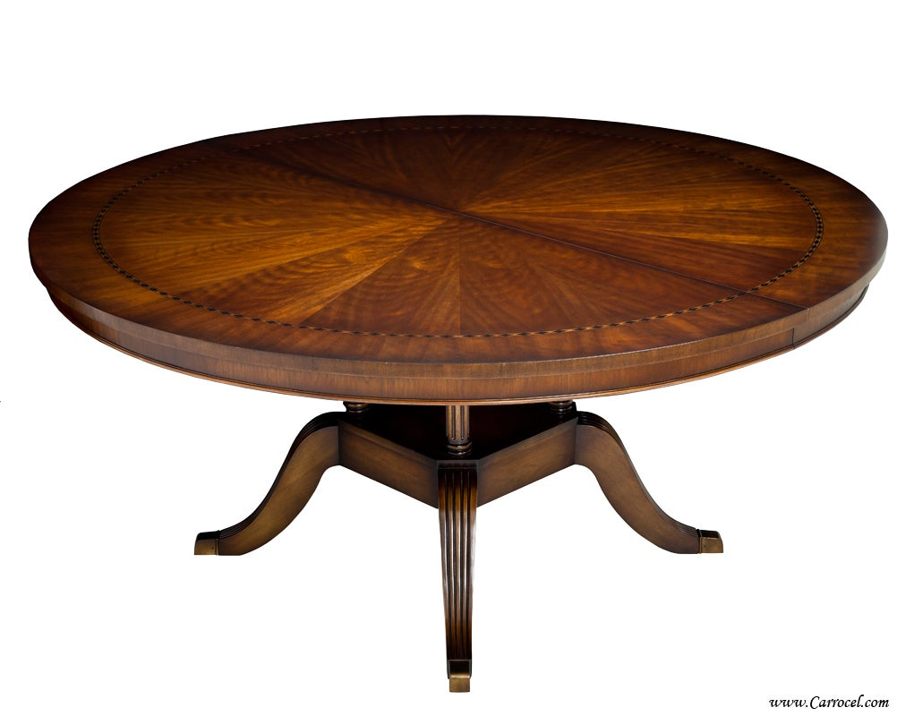 Round cherry dining table with diamond inlay made in nc for Circular dining table