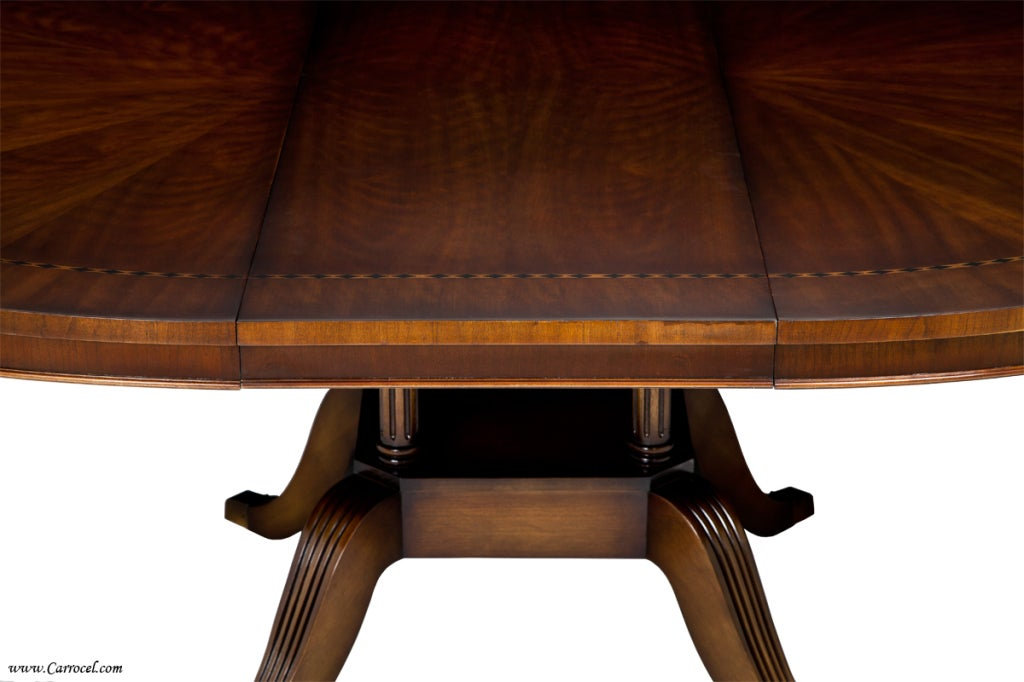 Round Cherry Dining Table With Diamond Inlay Made In Nc