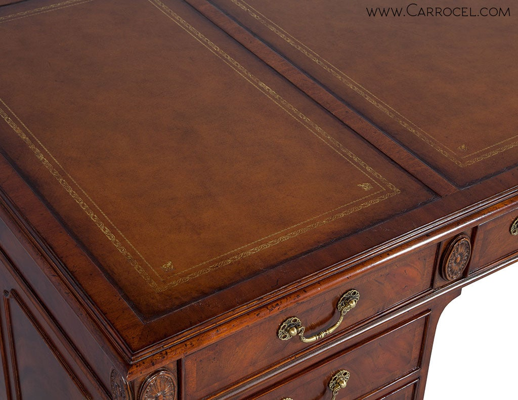 Leather Inlaid Mahogany Executive S Desk At 1stdibs
