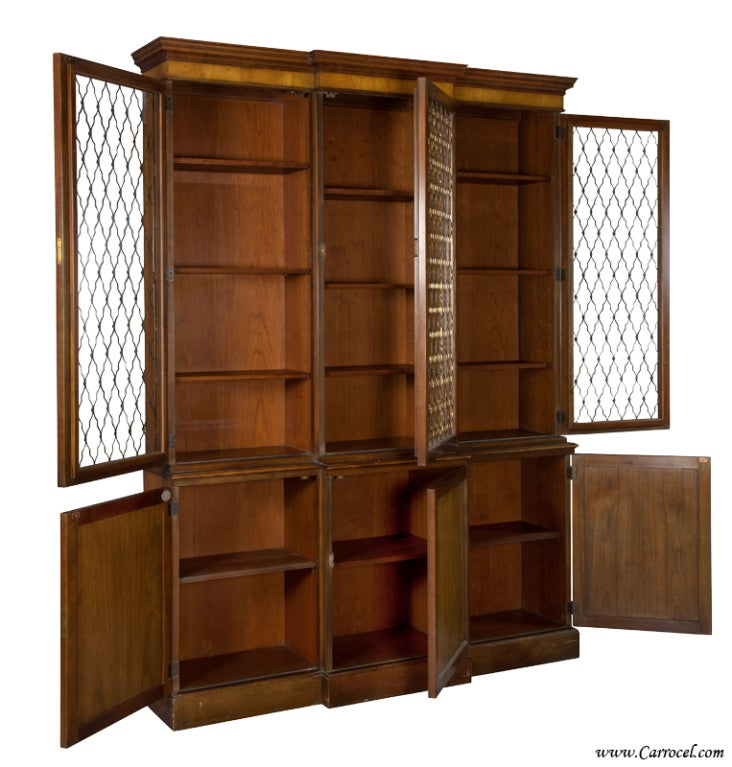 Vaisselier Etroit: Walnut Display China Cabinet Office Bookcase By BAKER