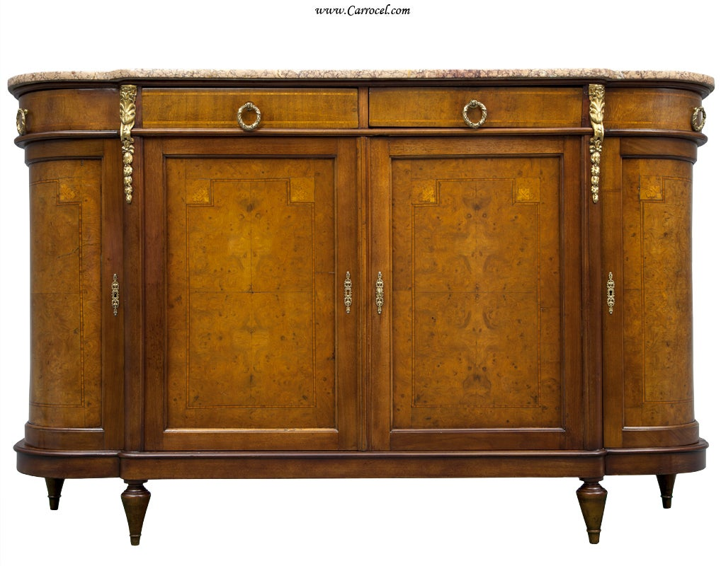 Marble Top Buffet ~ Antique burled walnut louis xvi marble top sideboard