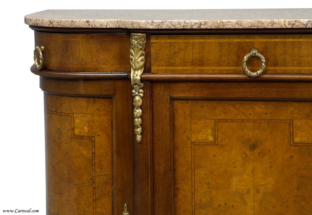 Antique burled walnut louis xvi marble top sideboard