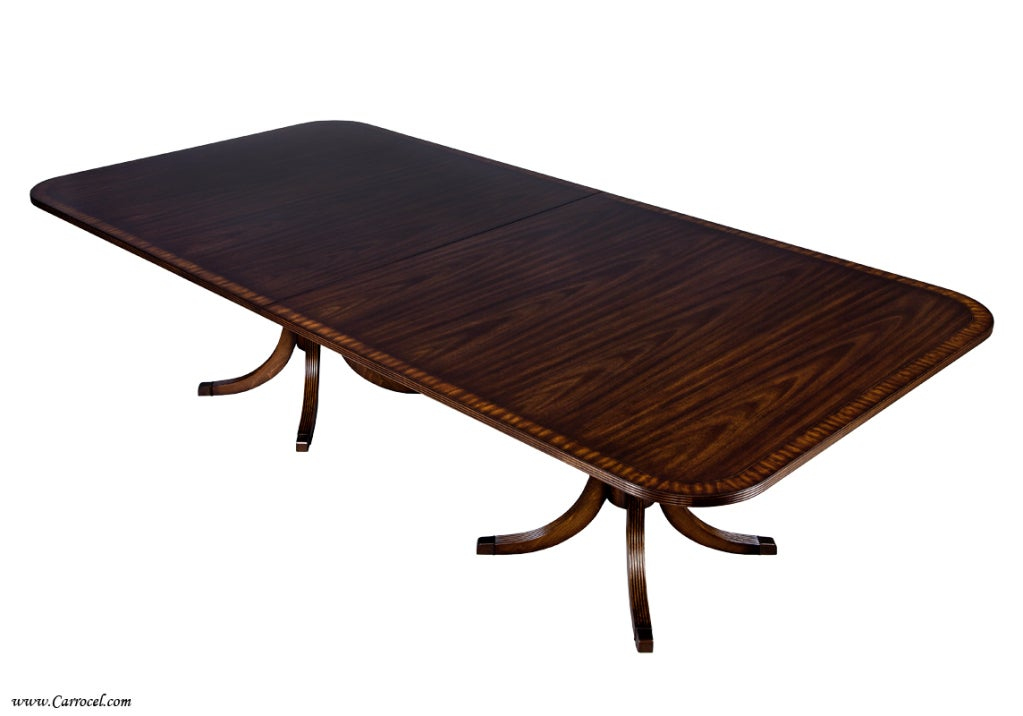 Custom Double Pedestal Mahogany And Satinwood Dining Table For Sale At 1stdibs