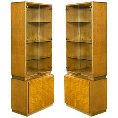 Pair of Milo Baughman Armoire Display Cabinets