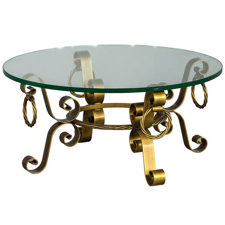Regency round solid brass glass coffee table at 1stdibs