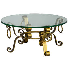 Regency Round Solid Brass Glass Coffee Table