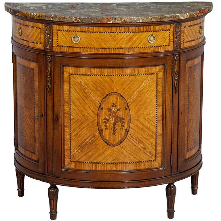 Hand carved french marquetry demilune marble top console for Demilune console table with drawers