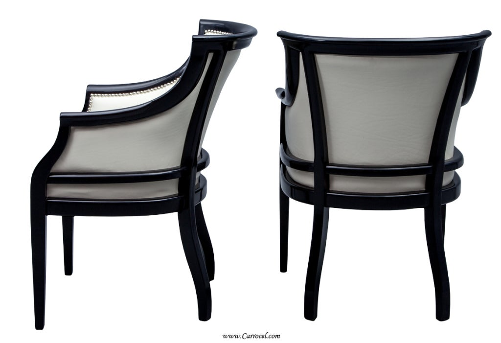 Pair Of Antique Piano Black Lacquer Tub Accent Guest