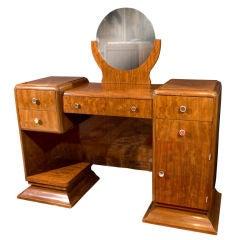 Antique Rosewood Art Deco Vanity Desk from France 1930s