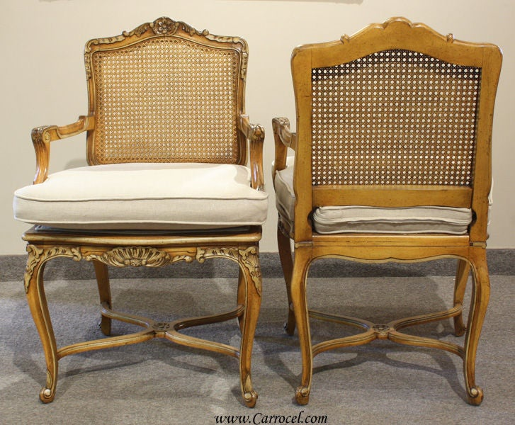 Antique French Walnut Carved Cane Back Arm Chairs 3