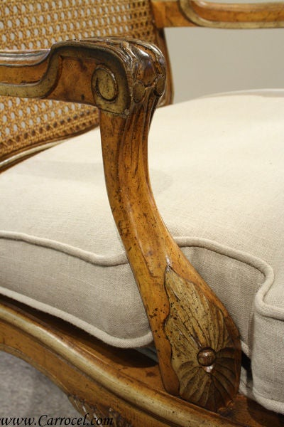 Antique French Walnut Carved Cane Back Arm Chairs At 1stdibs