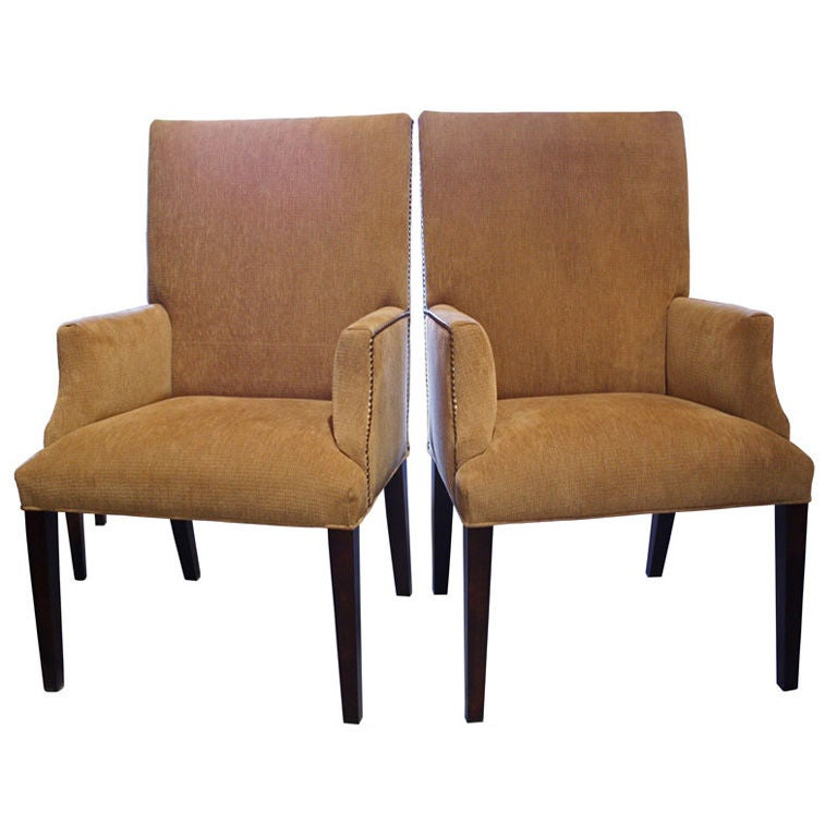 Pair of custom upholstered parsons arm chairs at 1stdibs for What is a parsons chair style
