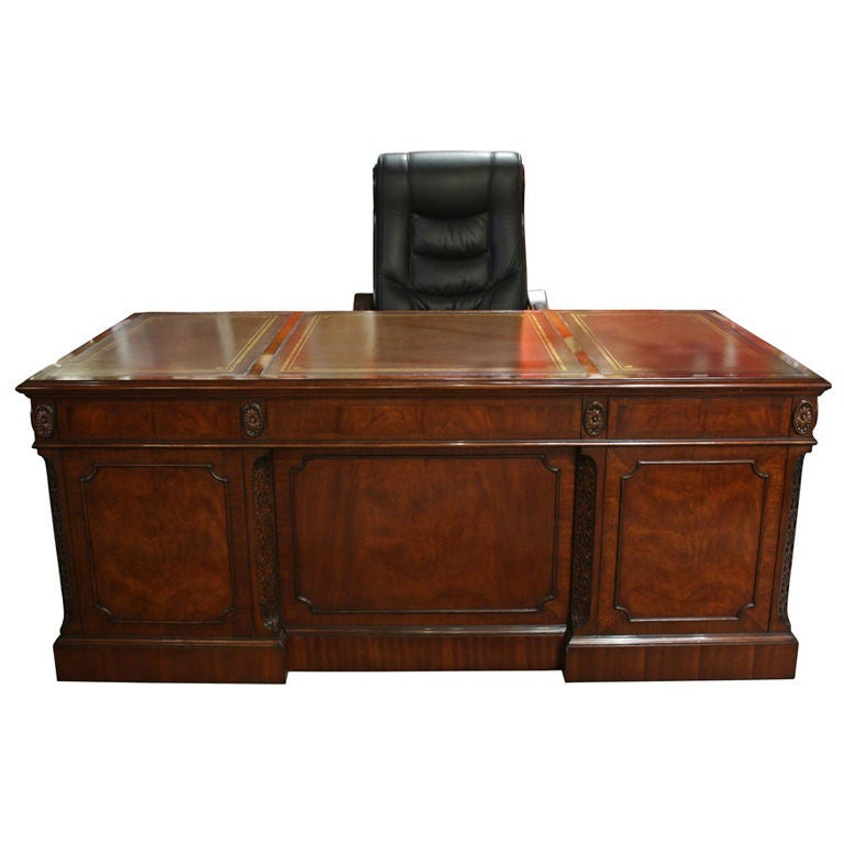 Executive Leather Top Solid Mahogany Office Desk At 1stdibs