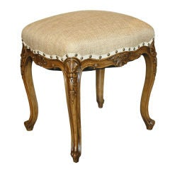 Antique Walnut Carved French Country Stool Bench