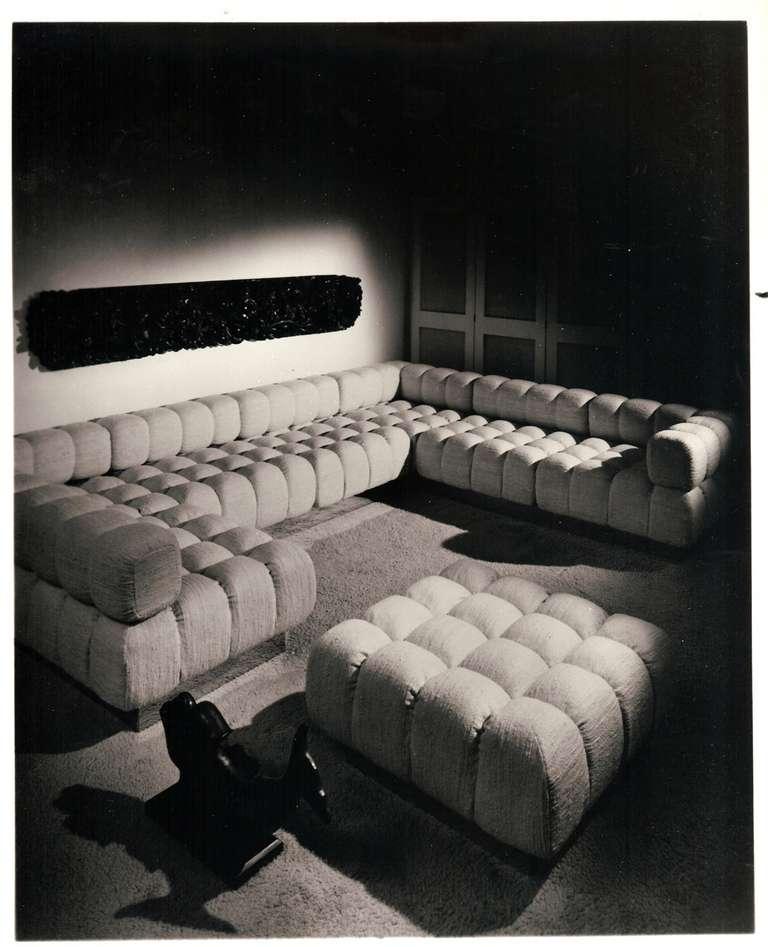 "Large Deep Sectional Sofas: Rare 9 Piece Modular Sofa, ""Deep Tuft"" By Harvey Probber"