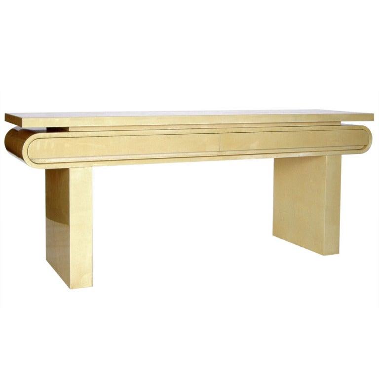 Long Console Table : Fine Long Italian Goatskin Console Table by Aldo Tura