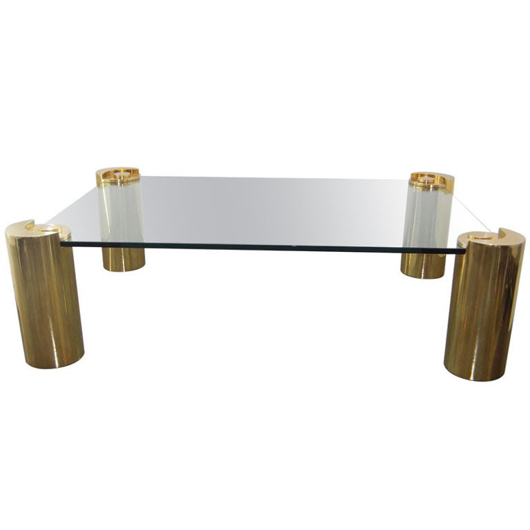 Good Brass And Glass Coffee Table By Karl Springer For Sale