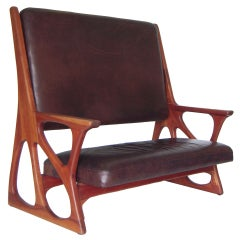 Sculptural Studio Crafted Settee in Wood and Buffalo Leather