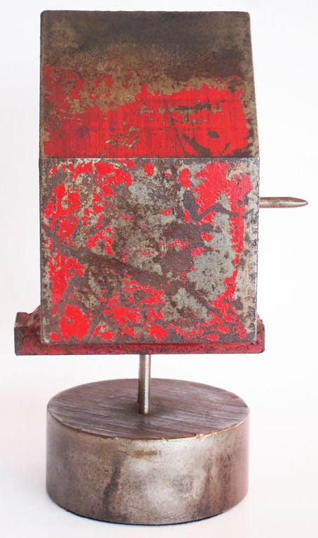American Modernist Solid Steel Bird House by Albert Wilson For Sale