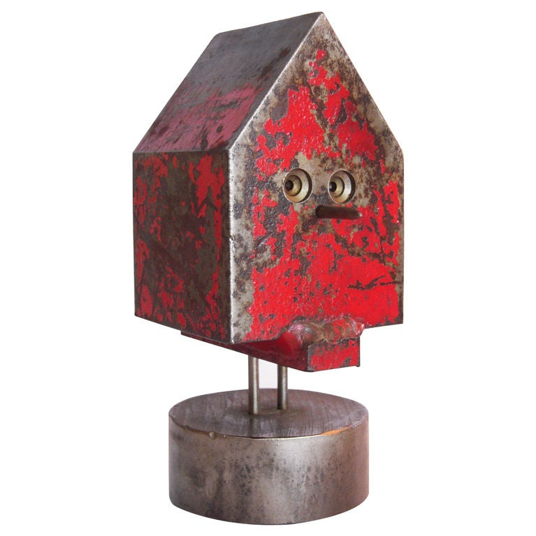 Modernist Solid Steel Bird House by Albert Wilson For Sale