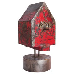 Modernist Industrial Sculpture Steel Bird House by Albert Wilson c 1970