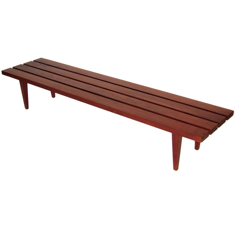 Long Danish Teak Slat Bench