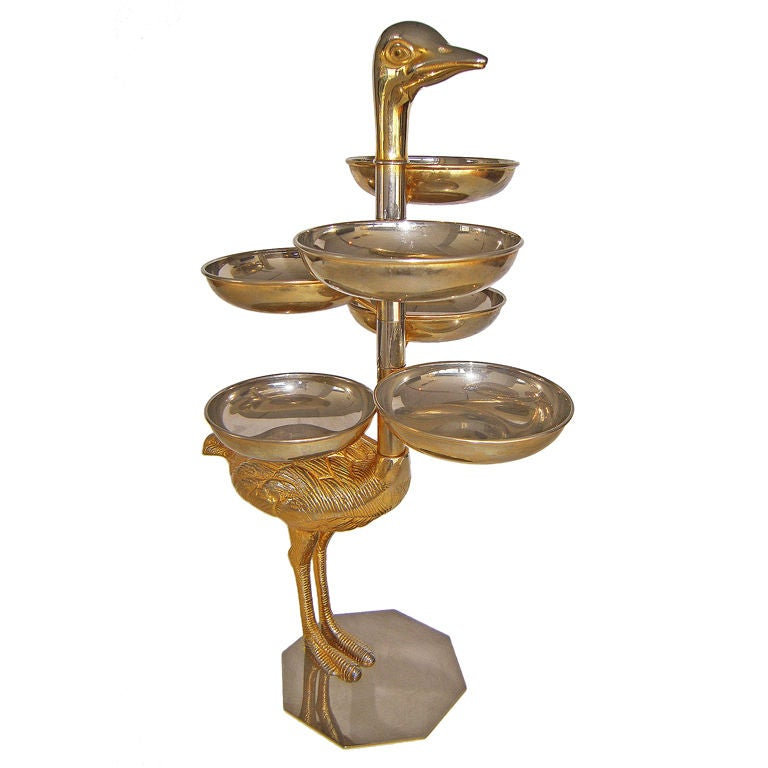 Sculptural rotating italian brass confection server at stdibs